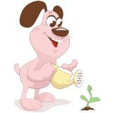 cartoon-dog-watering-flowers